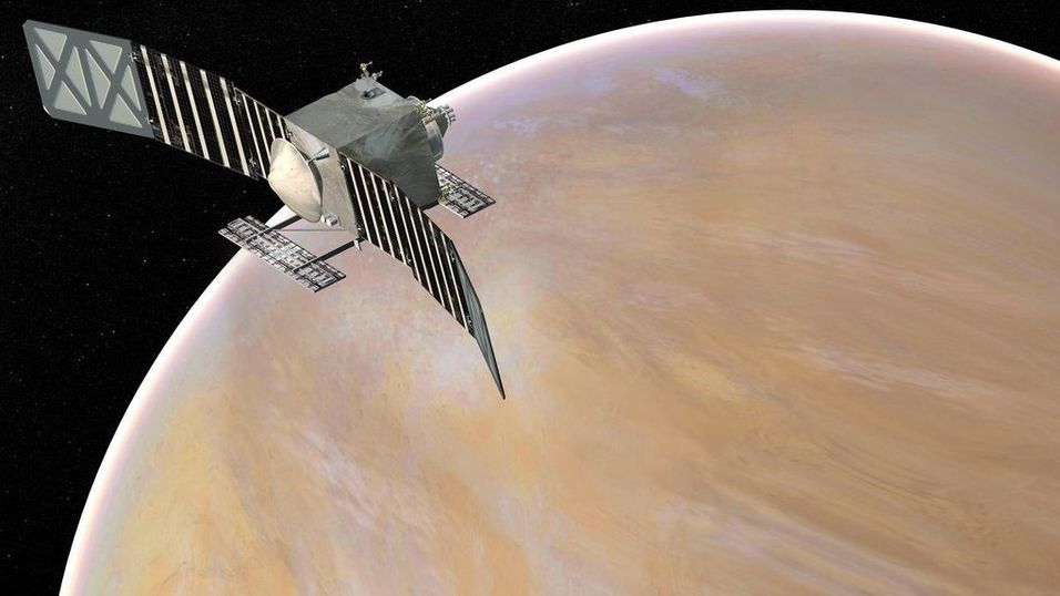 Konseptbilde av VERITAS-romskipet ved Venus.