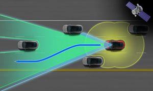 Her illustreres radar og kamera, samt sonaren som registrerer alt innen cirka 5 meter av bilen.