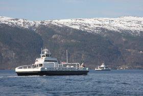 Batterifergen Ampere møter Stavanger i Sognefjorden.