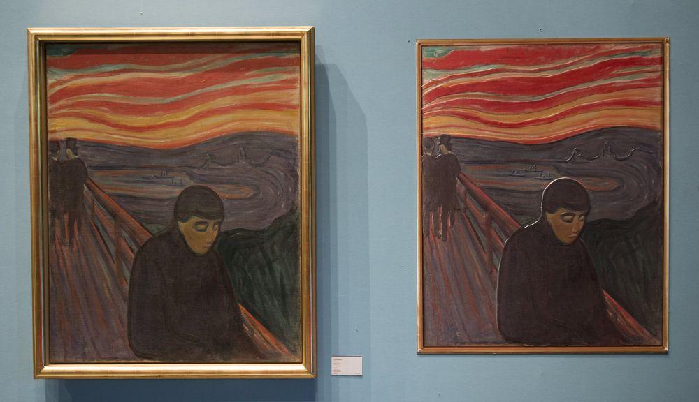 Munchs «Fortvilelse» i original og taktil versjon.