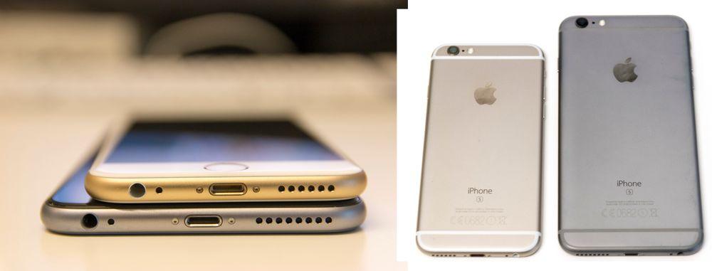 iPhone 6S Plus og den vanlige iPhone 6S. Plus-modellen er vesentlig større.