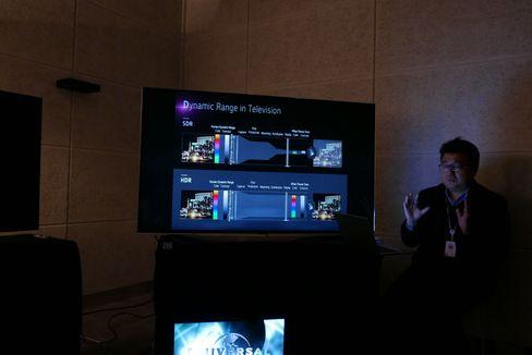 Haengjoon Kang i LG forklarer oss hvordan  HDR byr på flere farger og lys.