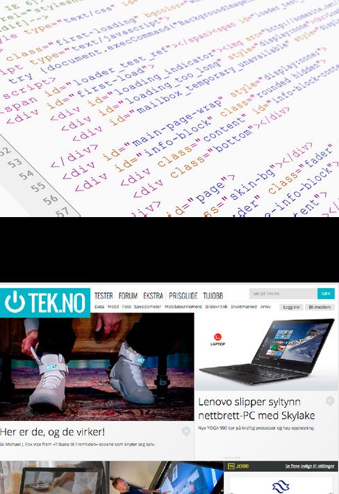 Nettleseren oversetter HTML-koden til en litt mer oversiktlig nettside.