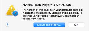 Dette er blokkeringsmeldingen som Safari-brukere vil få opp dersom man kjører en utdatert Flash-versjon.