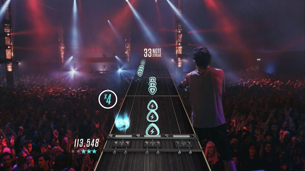 Slik ser det ut når man spiller Live-delen av Guitar Hero Live.