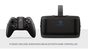 AuraVisor-brillene og den medfølgende Bluetooth- håndkontrollen.