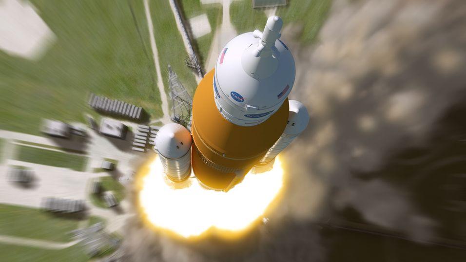 Illustrasjonsbilde av Space Launch System-raketten, som Boeing er med å utvikle.
