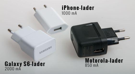 Disse tre laderne, i tillegg til USB-utgangen til en MacBook Pro, ga vidt forskjellige resultater.