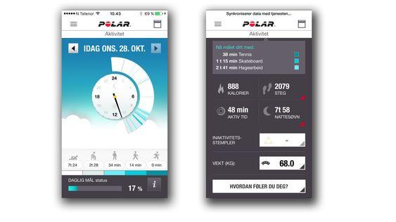 Polar-appen er pent designet, og inneholder det meste av info du trenger.