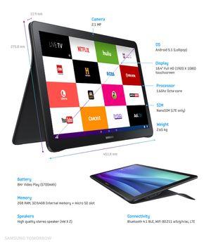 Samsung Galaxy View fokuserer på video og underholdning.