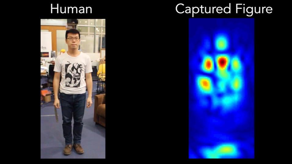 Systemet tolker Wi-Fi-refleksjonene og danner seg et bilde av personen.
