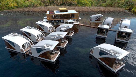 Hotellrommene er utformet som katamaraner, og kan dermed kobles fra hotellet og brukes som båter.
