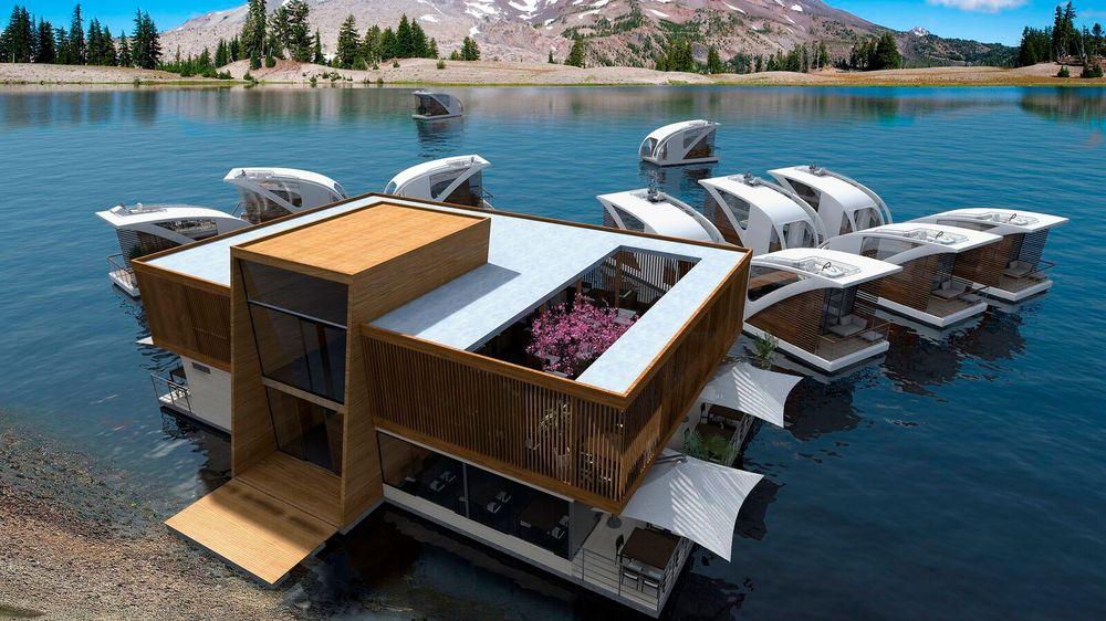 Om dette konseptet blir realisert kan du sjekke inn på et hotell som flyter på innsjøer i fremtiden.