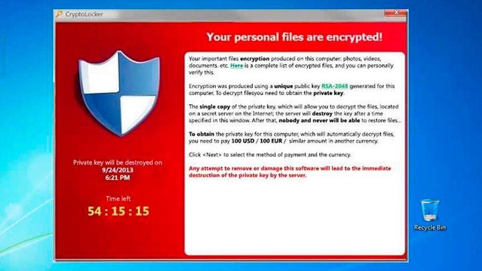 Hvis du ser denne skjermen på PC-en din er du i trøbbel. Cryptolocker krypterer alle filene dine, og du får dem bare tilbake hvis du betaler en saftig sum til «gisseltagerne».
