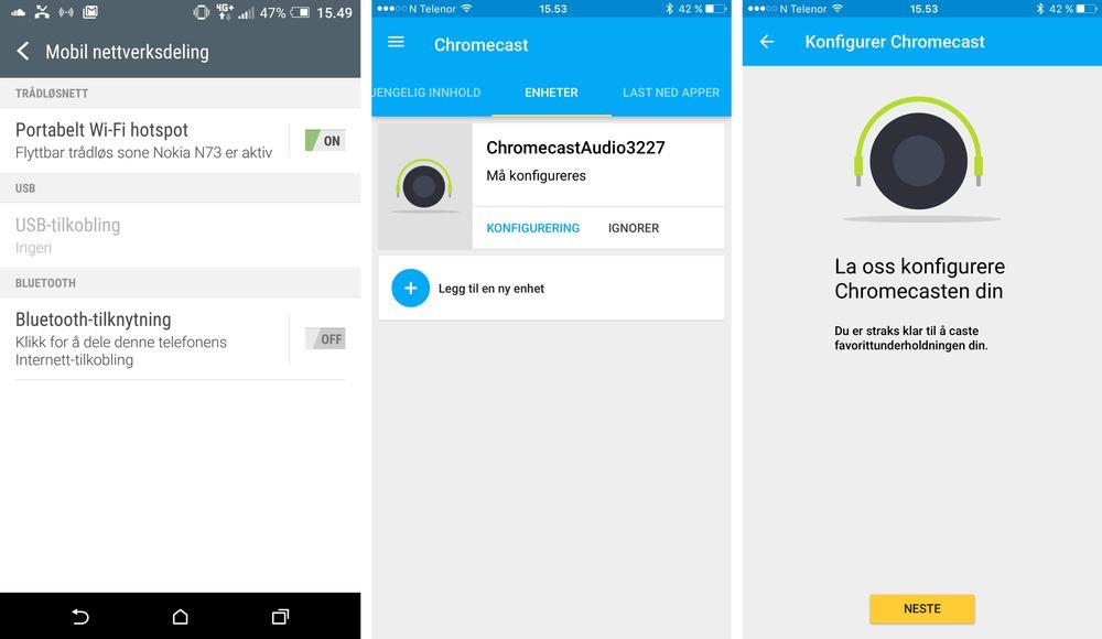 Det er optimalt å bruke en Android-telefon som hovedtelefon for dette prosjektet. Vi har valgt å sette innstillingene fra en iPhone. Det første du må gjøre er å aktivere trådløs nettverksdeling fra hovedtelefonen. Deretter kobler du telefon nummer til nettverket som deles, og følger instruksjonene fra Chromecast-appen.