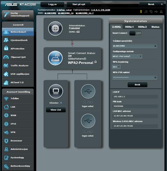 Konkurrentene har noe å lære av brukergrensesnittet i Asus RT-AC3200.