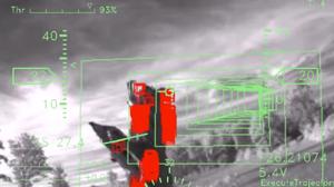 Dette er hva den autonome dronen ser. Rødt indikerer hindring.