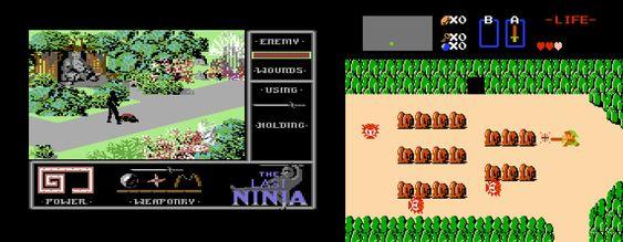 The Last Ninja sammenlignet med et annet populært actioneventyr som kom ut i vesten samme år.