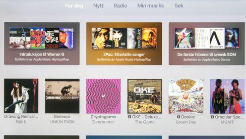 Apples egen musikktjeneste er godt integrert i Apple TV. Du kan se på bildestrømmen din eller gjøre andre ting mens musikken spiller av.