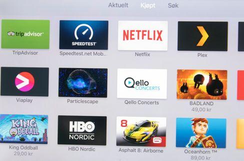 Da vi startet opp Apple TV hadde vi allerede et utvalg apper i oversikten over kjøpt og tidligere brukt innhold.