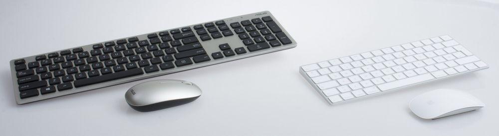 Både Apple og Asus inkluderer tastatur og datamus i sine pakker. Apple i hvitt til høyre.
