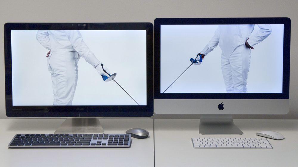 """Hvilken skal vi velge? Asus Zen AiO Pro Z240IC til venstre, Apple iMac 21,5"""" med Retina-skjerm til høyre."""