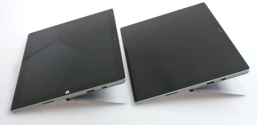 Surface Pro 4s støttebein eller kickstand er identisk med forgjengerens. Pro 4 til høyre, vi merker oss at «windowstast»-merket er fjernet.