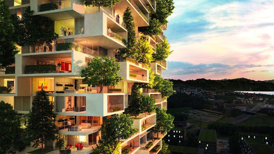 Kunne du tenkt deg å bo her? I fremtiden vil kanskje flere av oss bo i slike bygg.