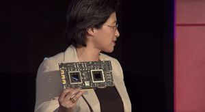 AMD-toppsjefen Lisa Su på scenen under årets Computex-messe i Taiwan. Den gang presenterte hun nye Radeon-kort.