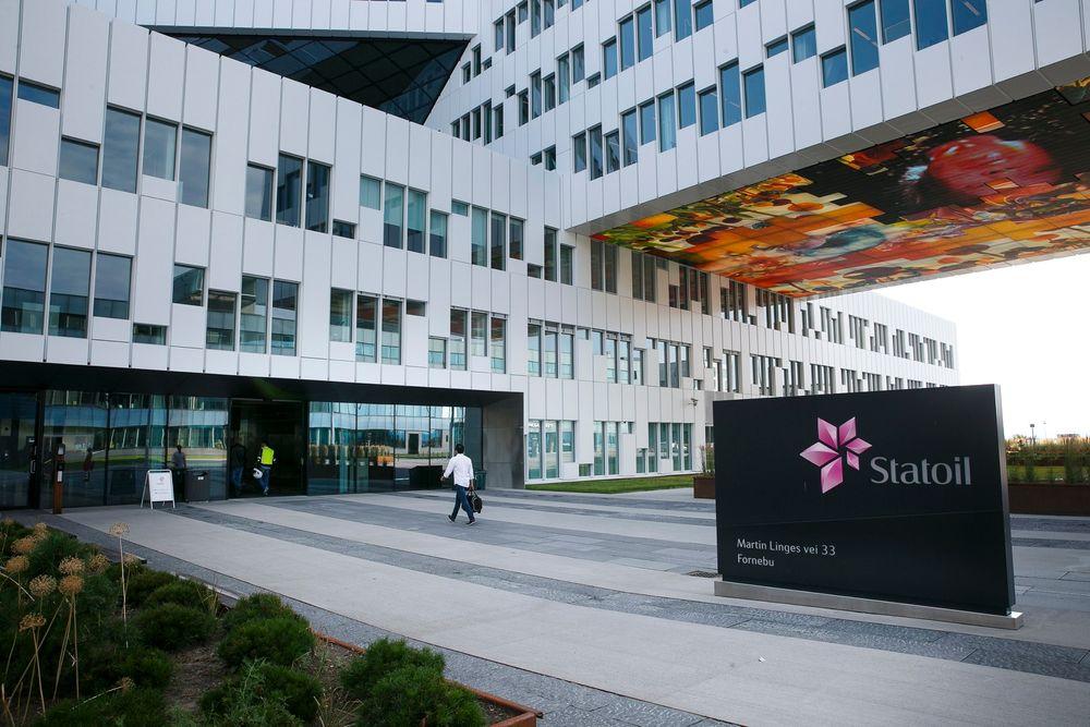 Snur: Bildet viser inngangen ved Statoils hovedkvarter på Fornebu utenfor Oslo. Statoil har besluttet å stoppe et av sine nedbemanningsprosjekt.