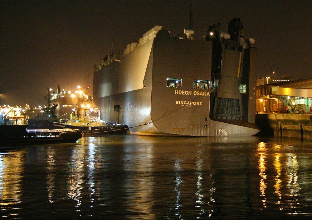 Med 5 graders slagside ble Höegh Osaka tauet inn til kai Southampton 23. januar.