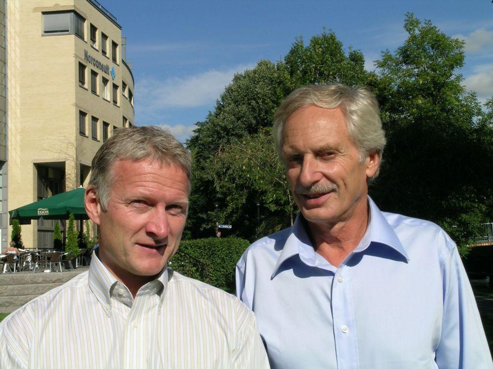 Norsk kompetanse skal synliggjøres internasjonalt, sier Innovasjon Samferdsels prosjekleder Arne Borgersen (t.v.) og prosjektansvarlig i Norconsult, Even Kolstad.