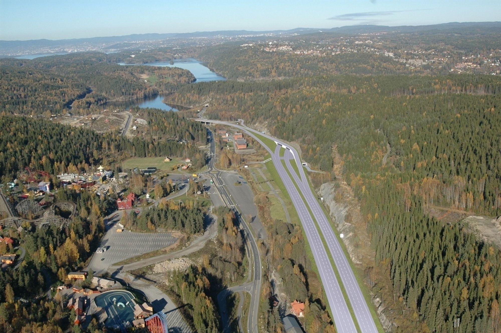 Dette veganlegget vil flytte morgenkøene nærmere Oslo når det åpnes høsten 2009. Utvidelsen fra fire til seks felt vil skje mot vest i retning Tusenfryd. (Ill.: Norfilm)