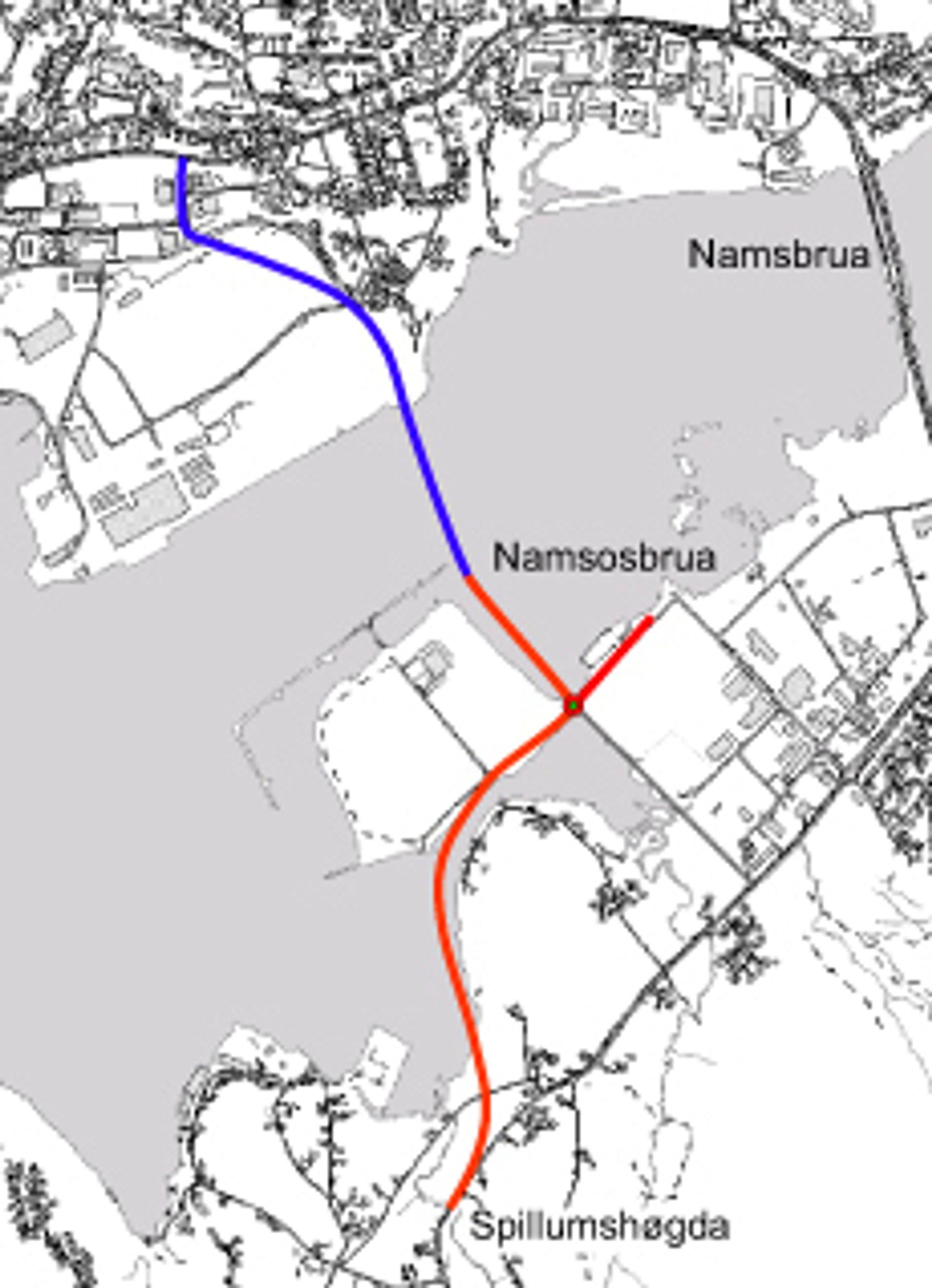 Vegstrekningen som Johs J. Syltern får ansvaret for, er markert med rødt. (Ill.: Statens vegvesen)