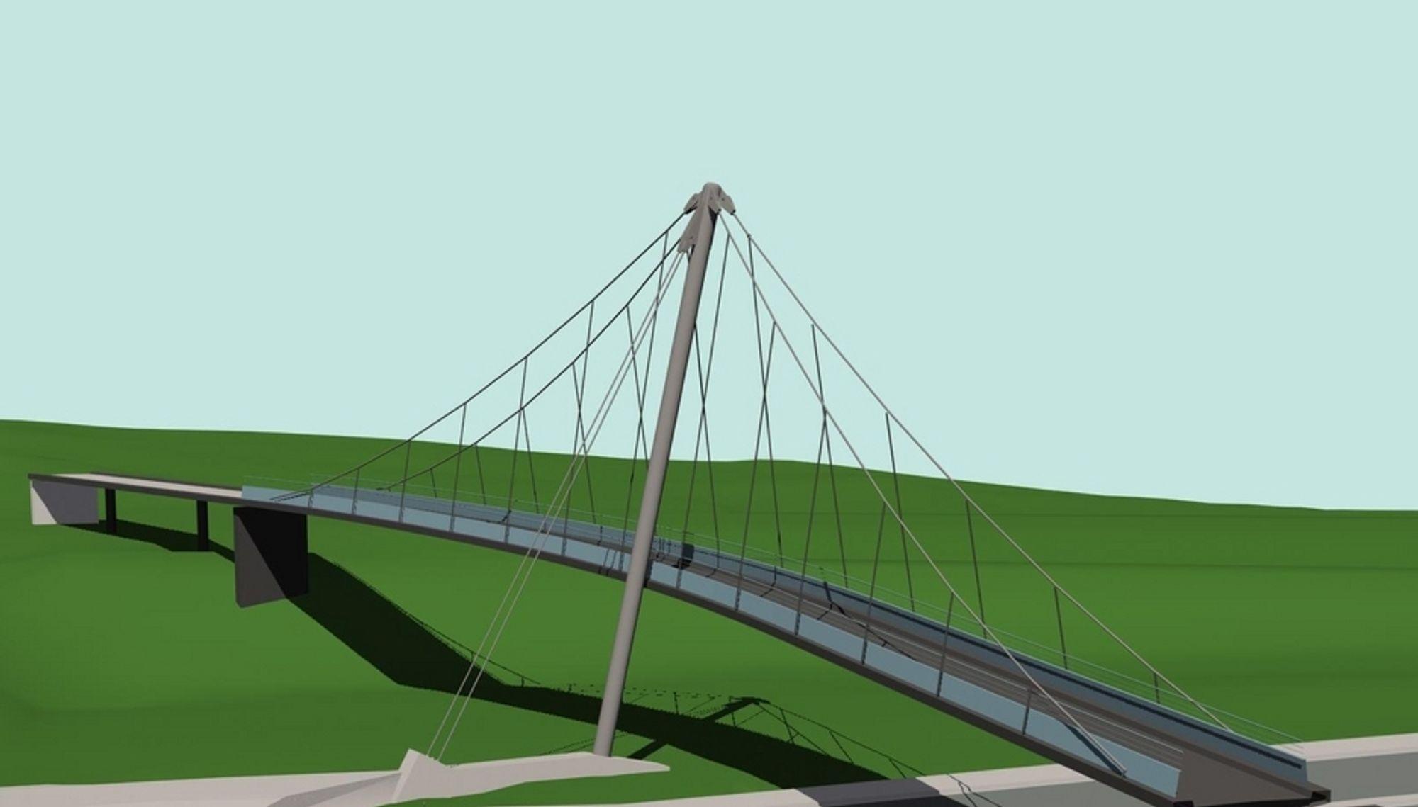 Denne dristige gangbrua er prosjektert av Aas-Jakobsen og Arkitektskap. Anbudsfristen er utsatt to ganger. Nå er det 5. september som gjelder.