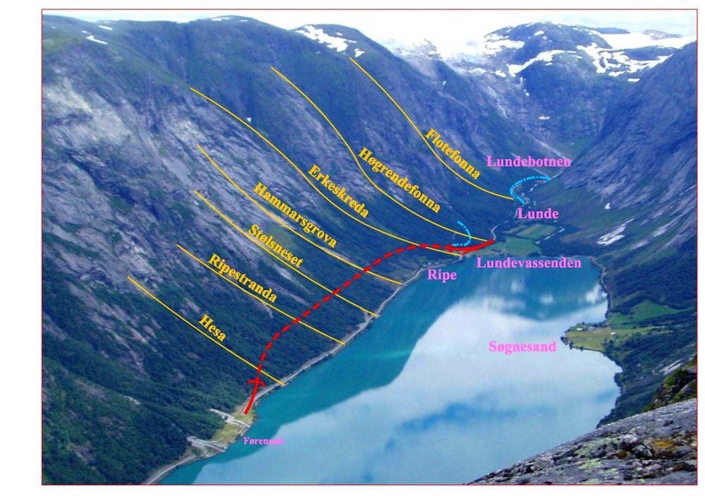 Åpningen av Støylsnestunnelen høsten 2009 markerer slutten på et omfattende arbeid for å sikre riksveg 5 mot ras. Tunneldriften skal skje fra Ripe innerst i Kjøsnesfjorden. (Ill.: Statens vegvesen).