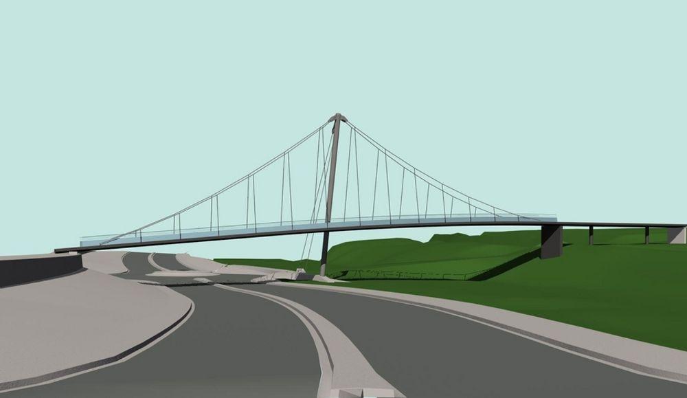 Aas-Jakobsen og Arkitektskap står bak denne dristige gangbrua som skal være ferdig til skoleåret 2008/2009.