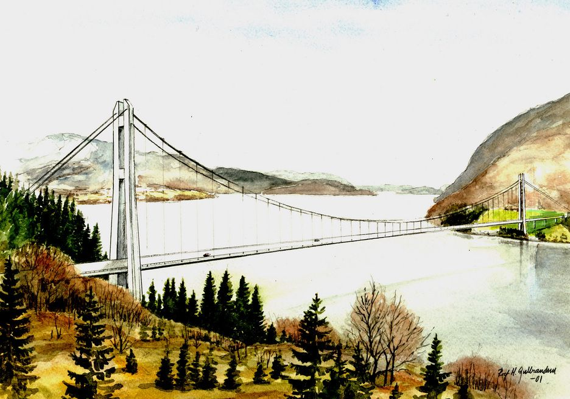 Slik vil brua over Dalsfjorden se ut hvis Stortinget gir sin tilslutning til prosjektet. Det gjenstår å se...... (Ill.: Arkitekt Rolf Gulbrandsen)