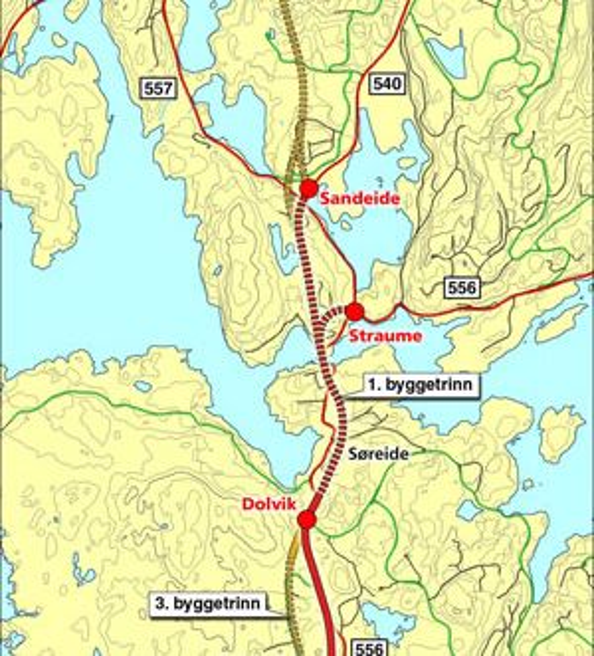 Elektroinstallasjonene skal utføres mellom Dolvik og Sandeide. Tunnelsystemet er langt mer omfattende enn dette kartet gir inntrykk av. Tunnelen får to 2,5 km lange hovedløp, og over 1,6 km ramper. (Ill.: Statens vegvesen)