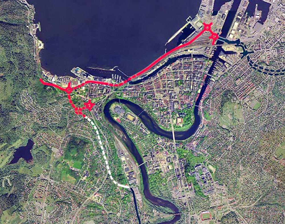 Nordre avlastningsveg har flere oppgaver. En av dem er å flytte trafikken mellom havneområdene vekk fra sentrumsgatene. Nå er det klart at Trondheim må leve med den trafikken helt til sommeren 2010. (Ill.: Statens vegvesen)