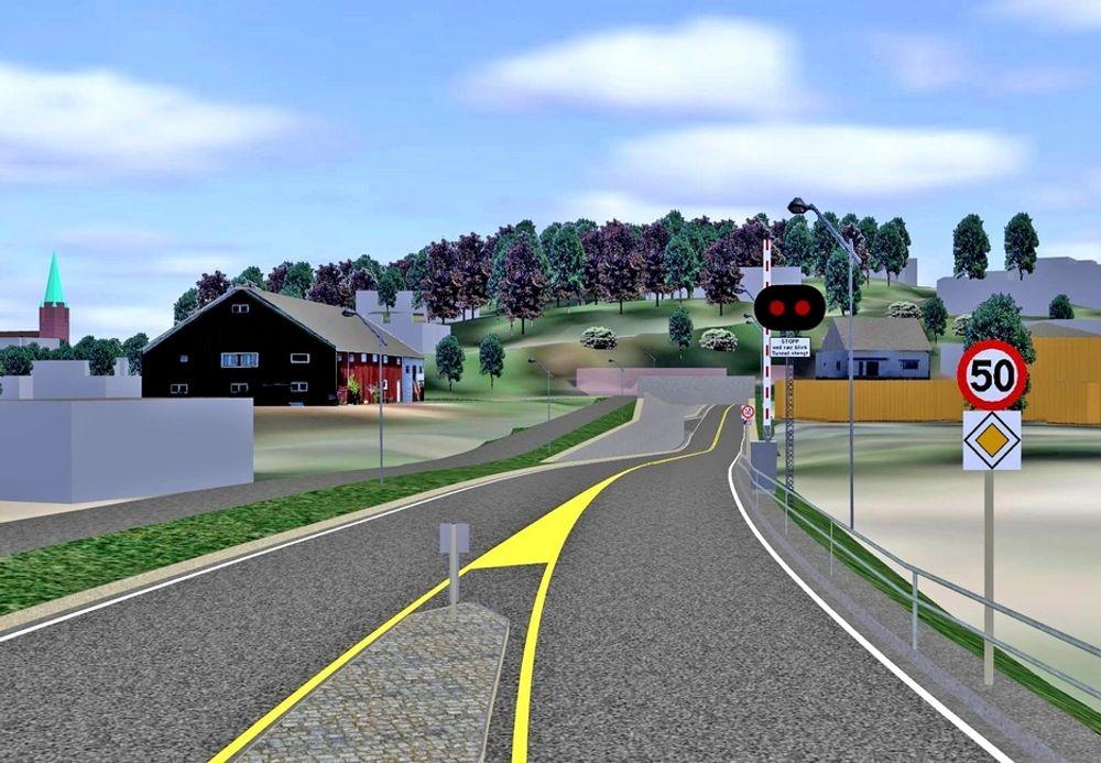 Hvis ingen klager innen 26. september, skal Sarpsborg Park & Anlegg anlegge vegen i forgrunnen. Kråkerøytunnelen som er hovedelementet i entreprisen, skal gå gjennom høyden i bakgrunnen. (Ill.: Statens vegvesen)