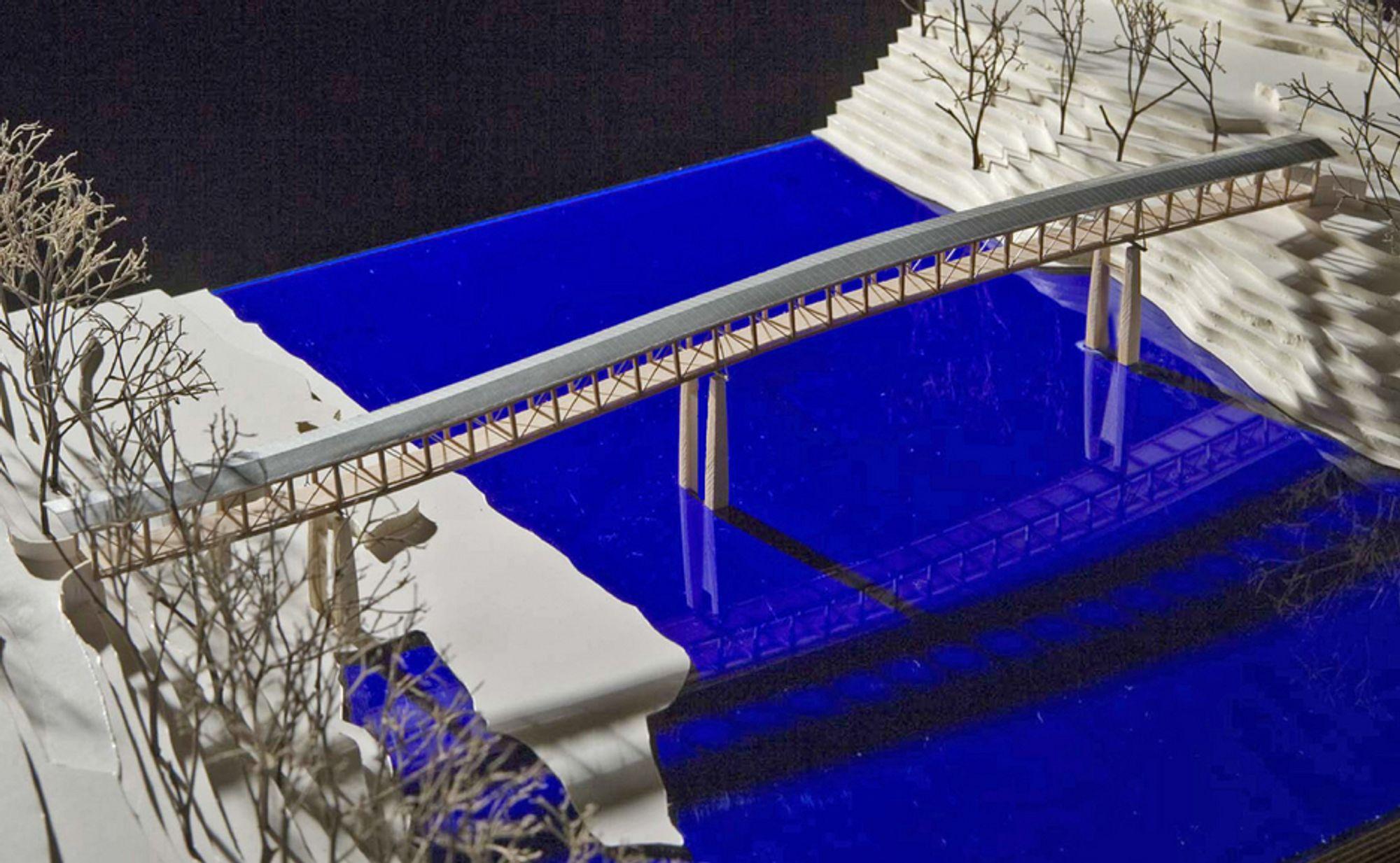 Denne spesielle brua er et resultat av samarbeid mellom Arne Eggen Arkitekter AS og Sivilingeniørene Haug og Blom-Bakke AS. Etter at modellen ble laget har brua blitt utstyrt med brystningsfelt.