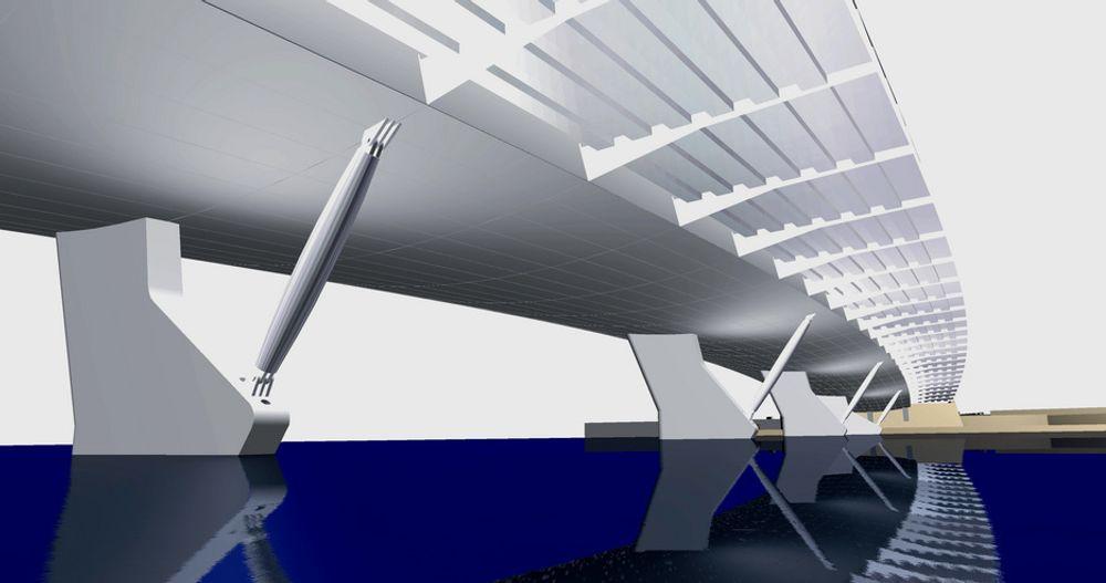 Byggingen av Øvre Sund bru er nå delt i fire entrepriser, men det er ikke gjort forandringer på utformingen av den. (Ill.: BFS Arkitekter)