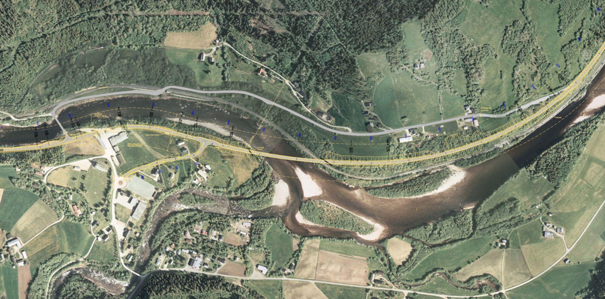 Den gule linjen markerer den nye riksveg 30. Den grå linjen lenger nord er dagens trasé. (Ill:. Statens vegvesen)