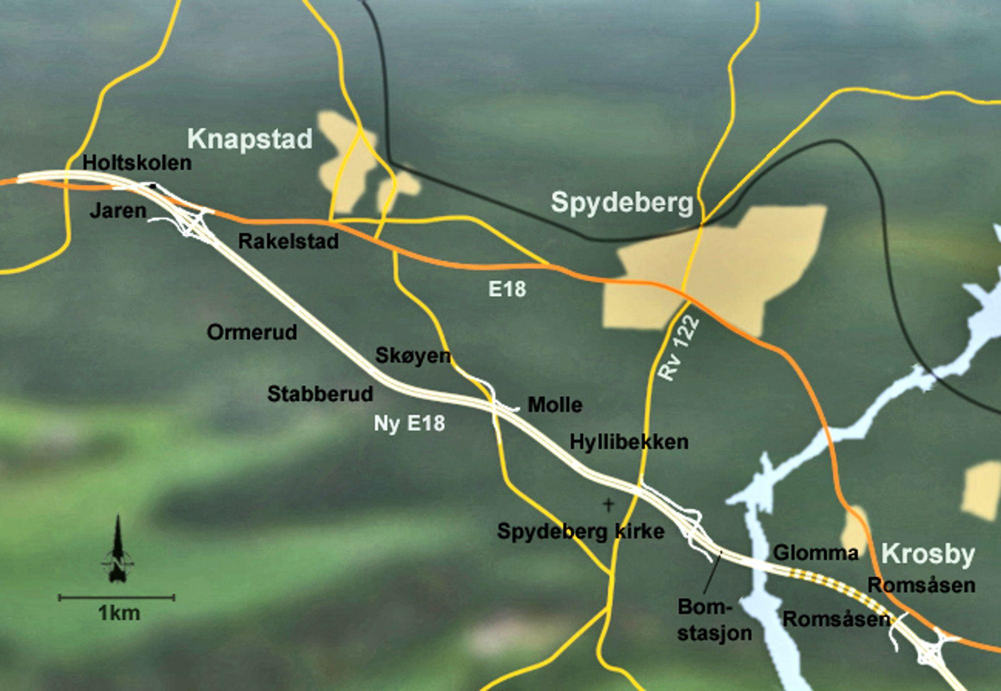 Askim Entreprenør ligger best an til å få kontrakten på fem bruer på ny E 18 mellom Knapstad og Krosby i Østfold. Prisene er høye, men det spiller neppe noen rolle for framdriften. (Ill.: Norfilm)
