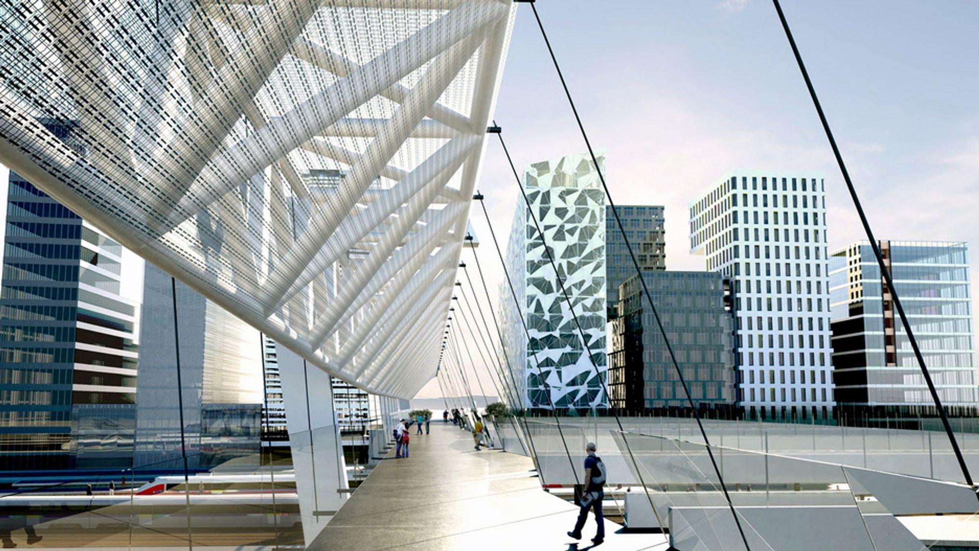 Hvis det ikke oppstår komplikasjoner under den videre behandlingen av saken, vil gangbrua over sporene på Oslo S stå ferdig innen utgangen av neste år. (Ill.: L2 Arkitekter)
