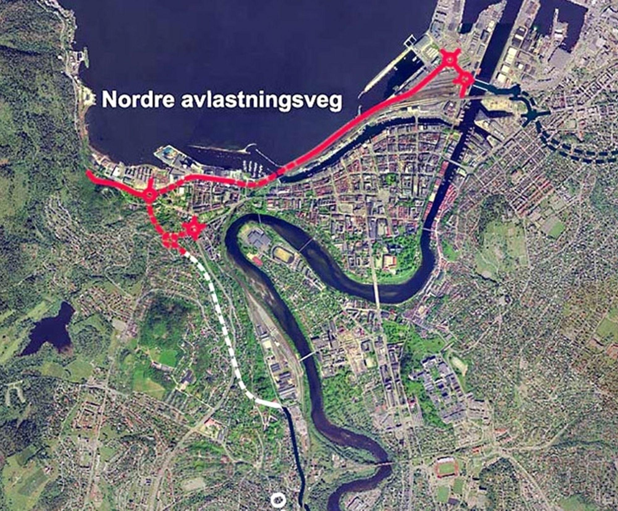 Den stiplete røde linjen til venstre med to rundkjøringer like ved siden av hverandre markerer den delen av Marienborgtunnelen som ble åpnet 15. mars. Den hvite linjen markerer den delen som åpnes om to år. (Ill: Statens vegvesen)