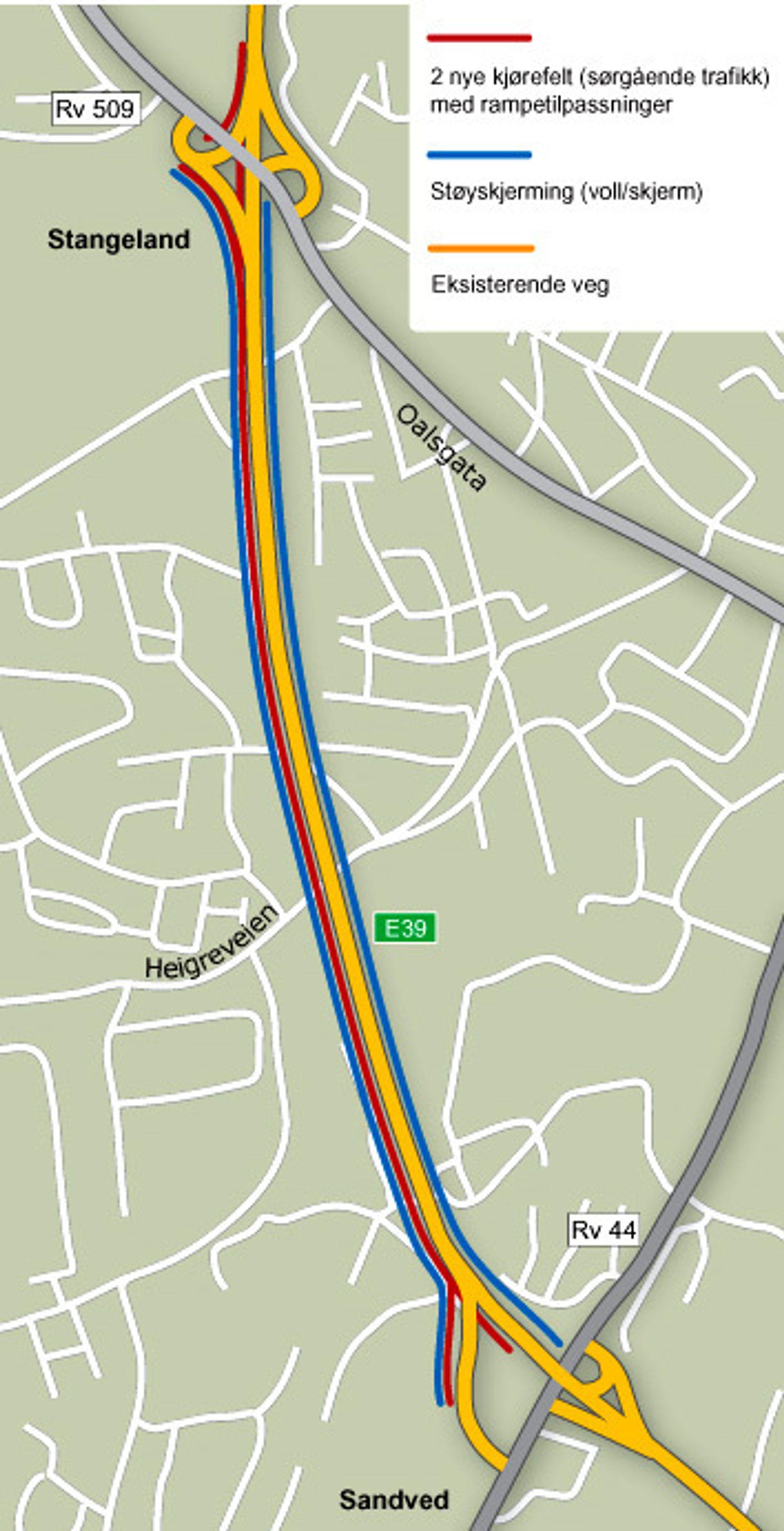 Den gule linjen viser nåværende E 39 som skal bli nordgående kjørebane. Den røde viser den nye sørgående kjørebanen. Omtrent midt på parsellen skal det bygges ny bru over Heigreveien. Det blir den eneste nye brua i veglinjen. (Ill.: Statens vegvesen)