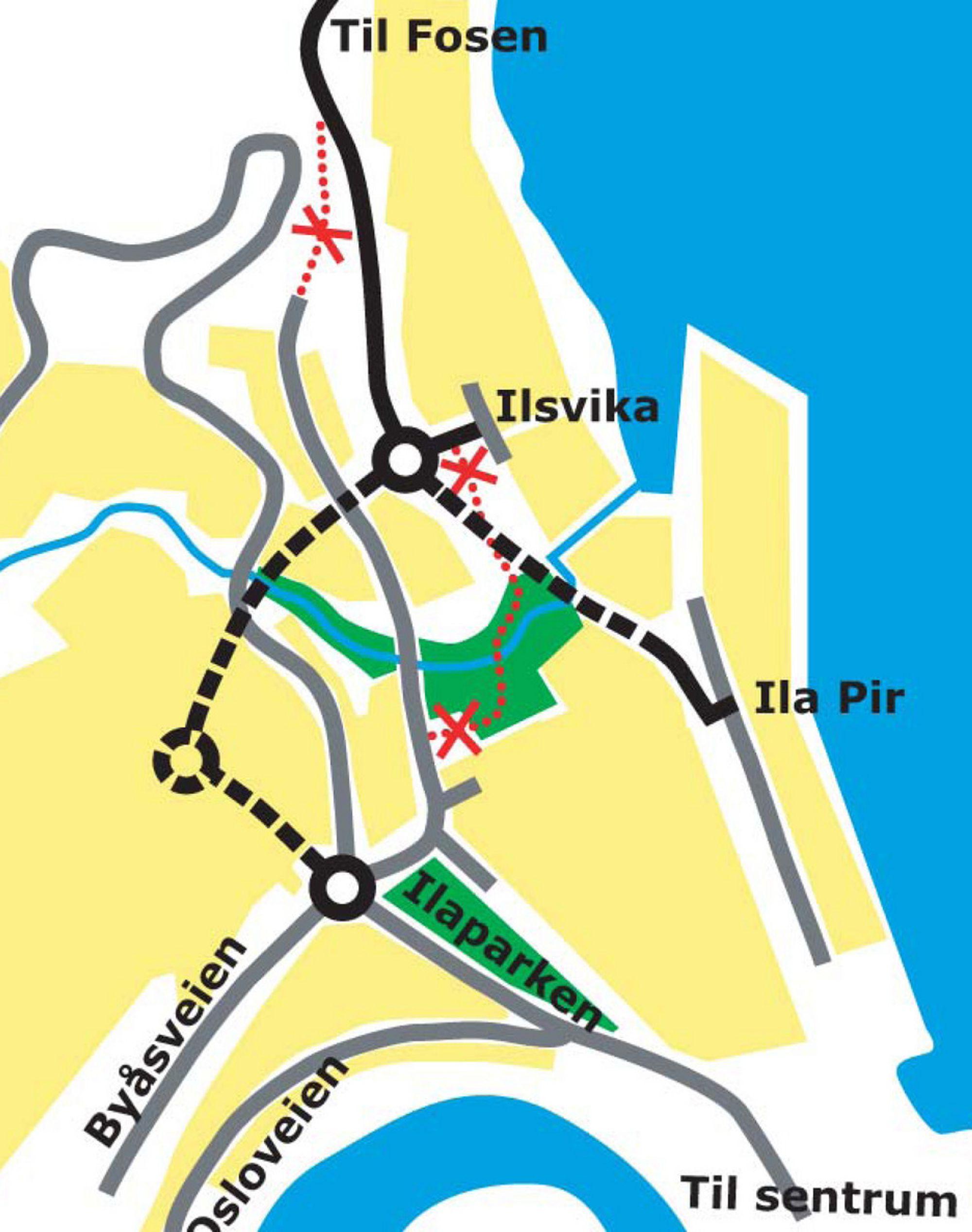 De stiplete linjene viser tunneler som er i bruk. Linjen mellom Ilsvika og Ila Pir er en betongkulvert som ble åpnet noen uker før Steinbergtunnelen. (Ill.: Statens vegvesen.)
