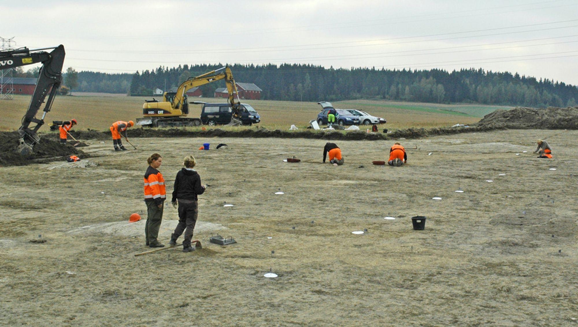 Etter omfattende arkeologiske undersøkelse og atskillige funn ble E 18-traséen mellom Knapstad og Krosby frigitt i fjor. Nå skal Råde Graveservice etablere anleggsveg gjennom dette området.
